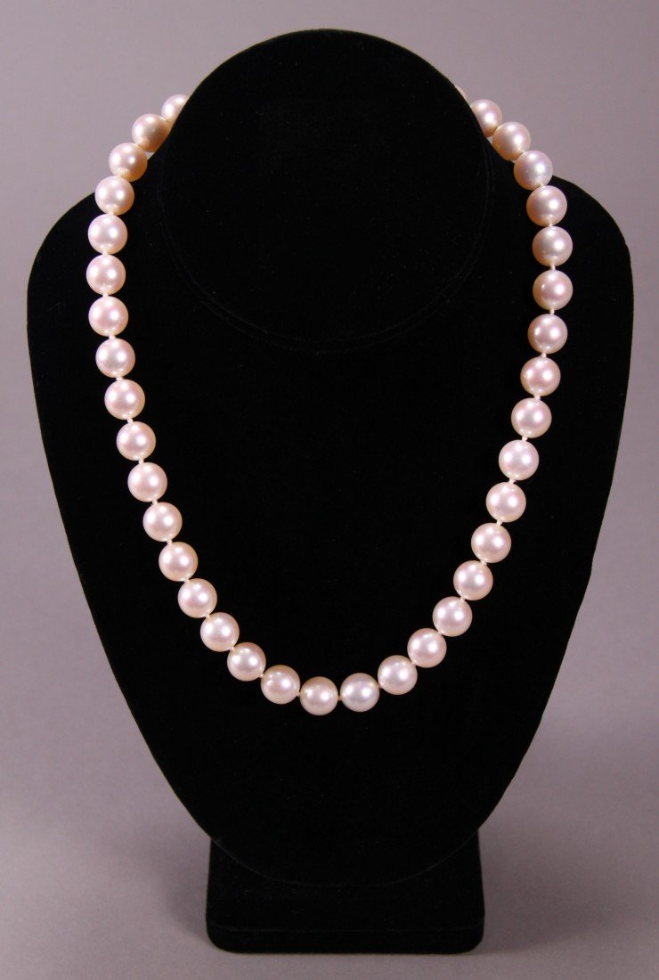 64: Estate Single Strand Pearl Necklace with Gold and D