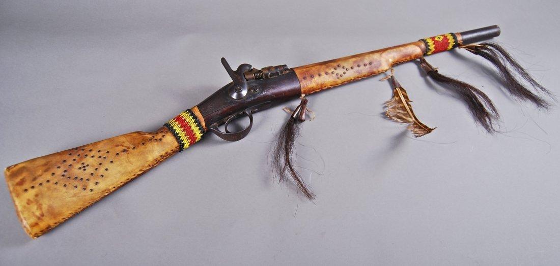 Native American Indian 1800's Shotgun, Indian Leather