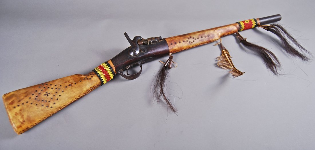 Native American Indian 1800's Shotgun, Indian Leather