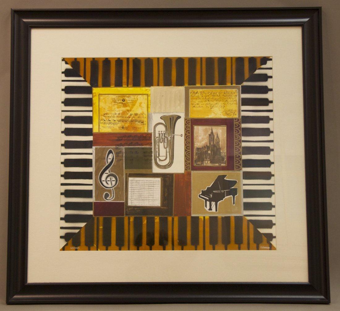 """K. Maas, """"Sonates"""", Original Framed Painting, mixed med"""