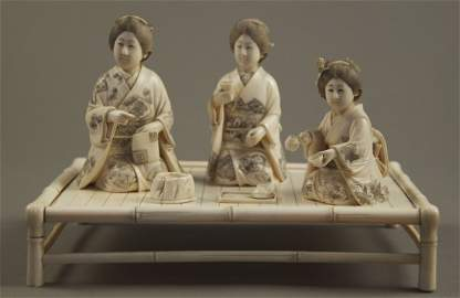 Exquisite Chinese Ivory carving of three women having t