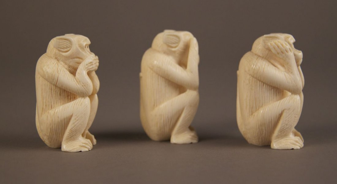 Ivory collection of Monkey's.  See no evil, hear no evi - 2