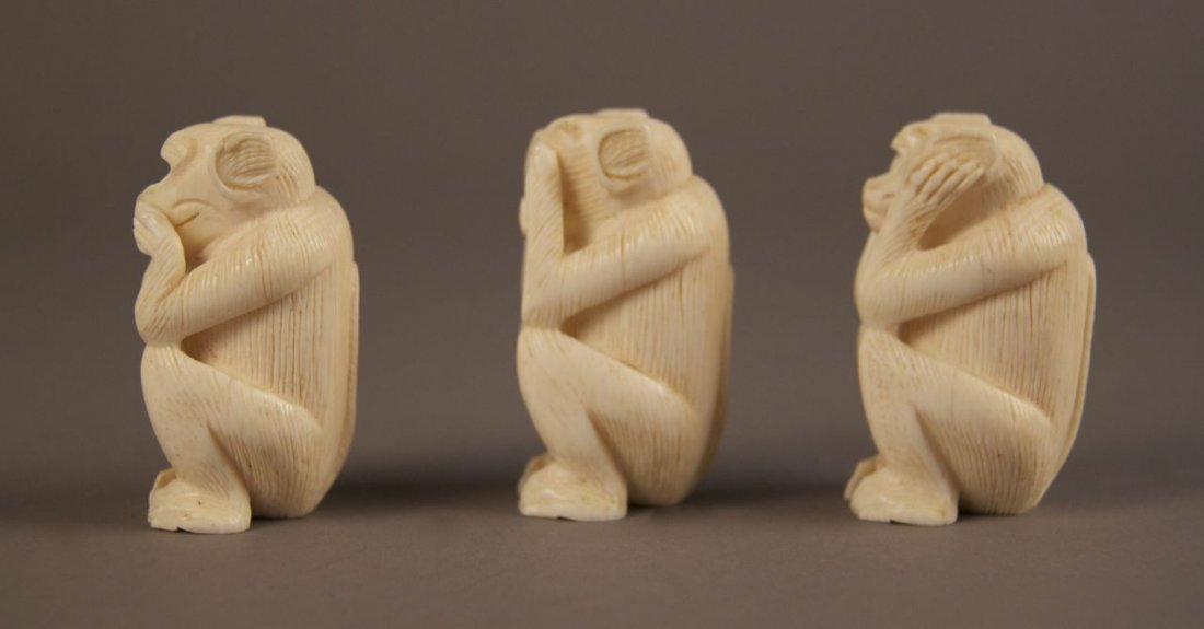 Ivory collection of Monkey's.  See no evil, hear no evi - 4