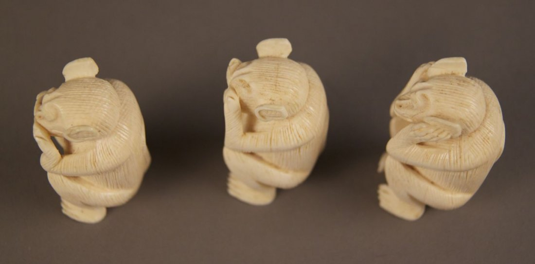 Ivory collection of Monkey's.  See no evil, hear no evi - 5