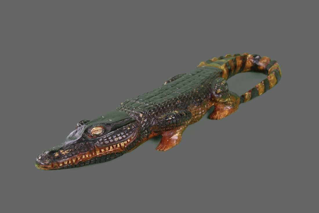 Wood Carved Alligator, Native American   (Size:  See