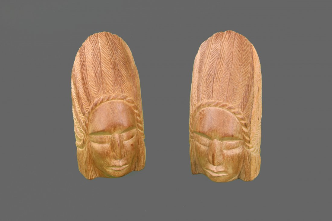 Wood Carved Indian Chief Book Ends, Native American