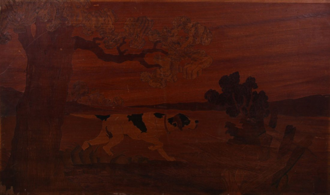 1929 Old Engilish Wood Carved Mosaic   (Size:  See Last