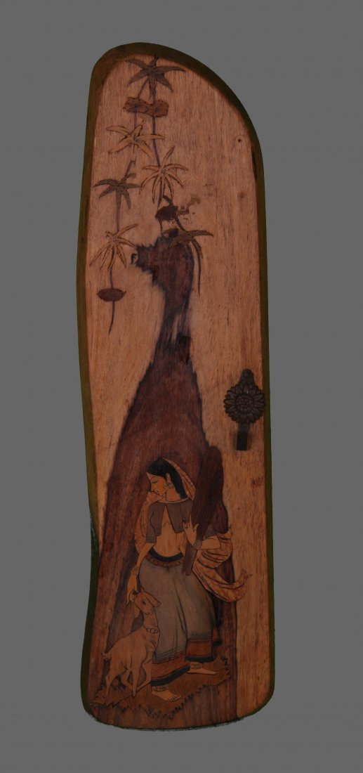 Antique Indian wood inlaid wall hanging.   (Size:  See