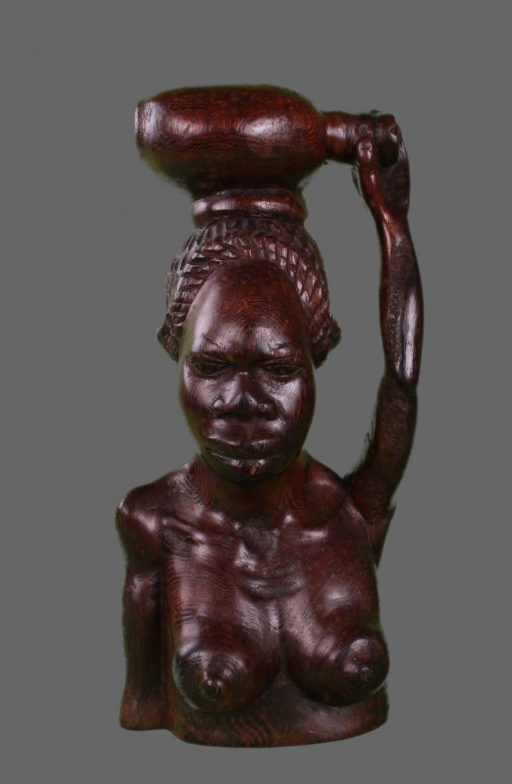 African Hardwood Carving of nude woman   (Size:  See