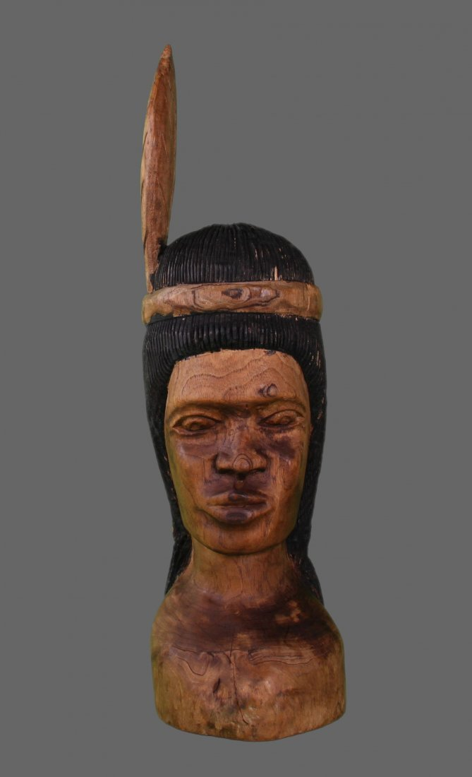 Native American wood carving of Warrior   (Size:  See