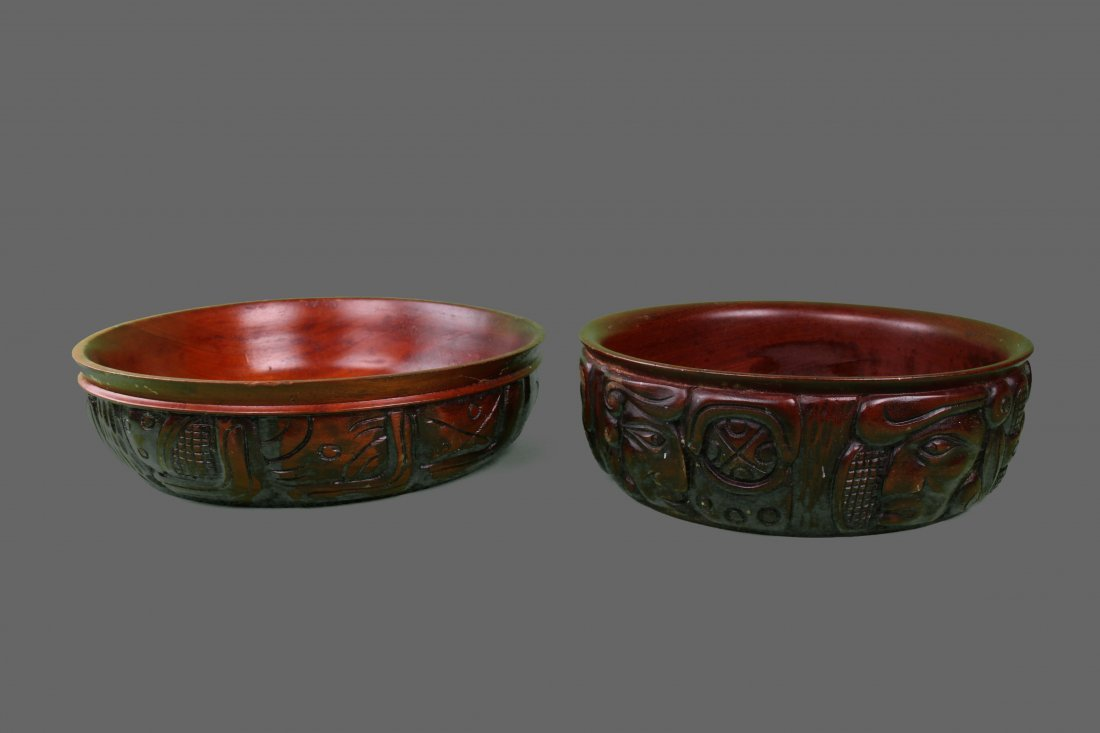 Set of Wood Carved Bowl.  Central American.   (Size: