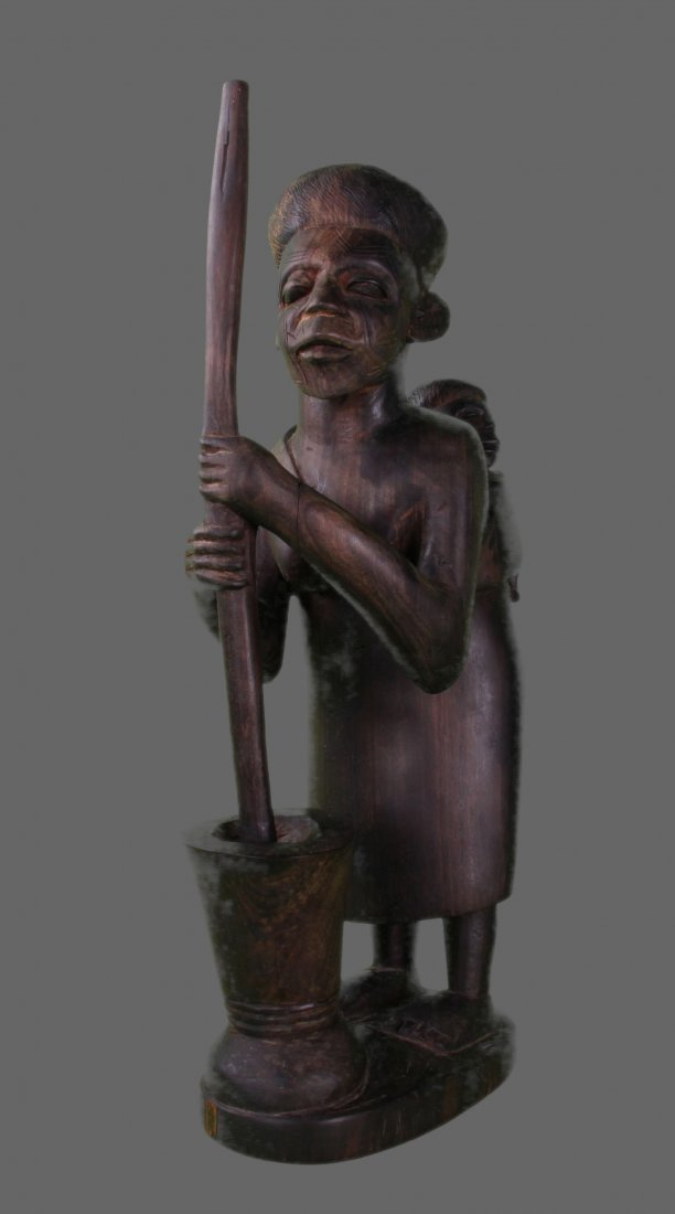 Early 1900's Iron wood Warrior with Child carving.