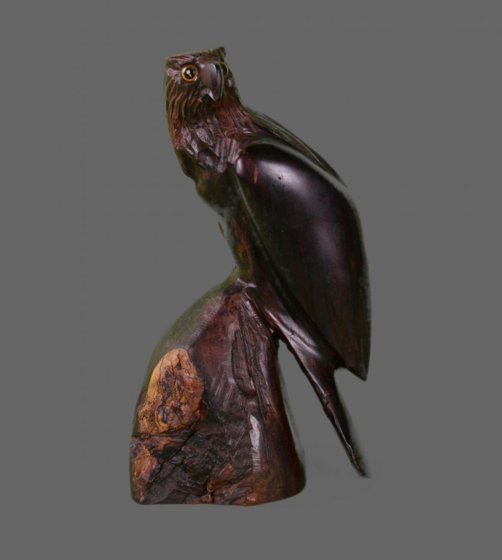 Hardwood carving of eagle perched.   (Size:  See Last