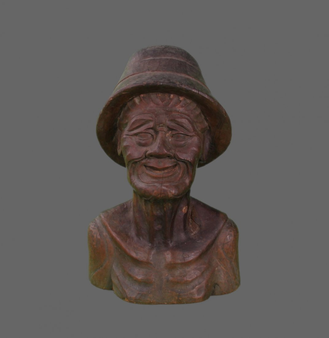 Hardwood carving of a Old fisherman.   (Size:  See Last