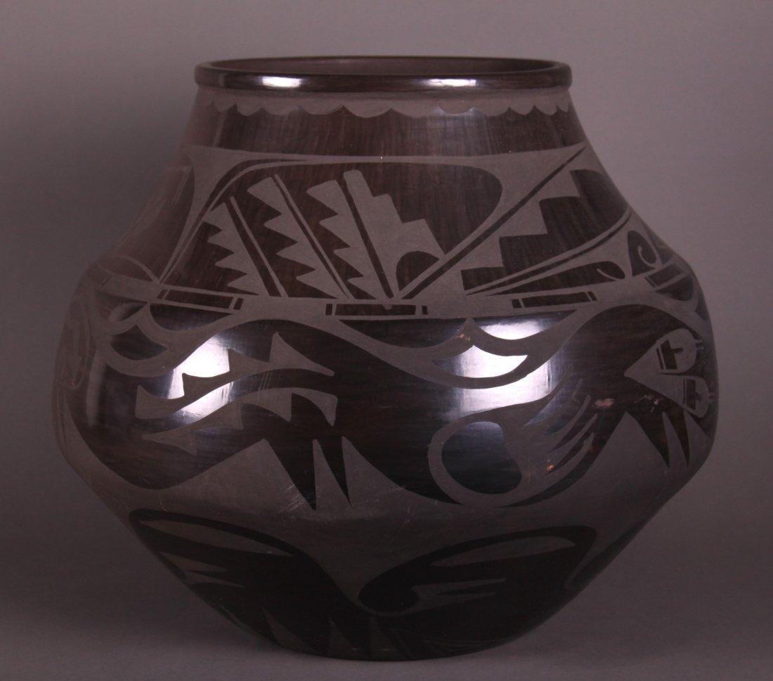 Carmelita Dunlap Very Large Black on Black Pottery,