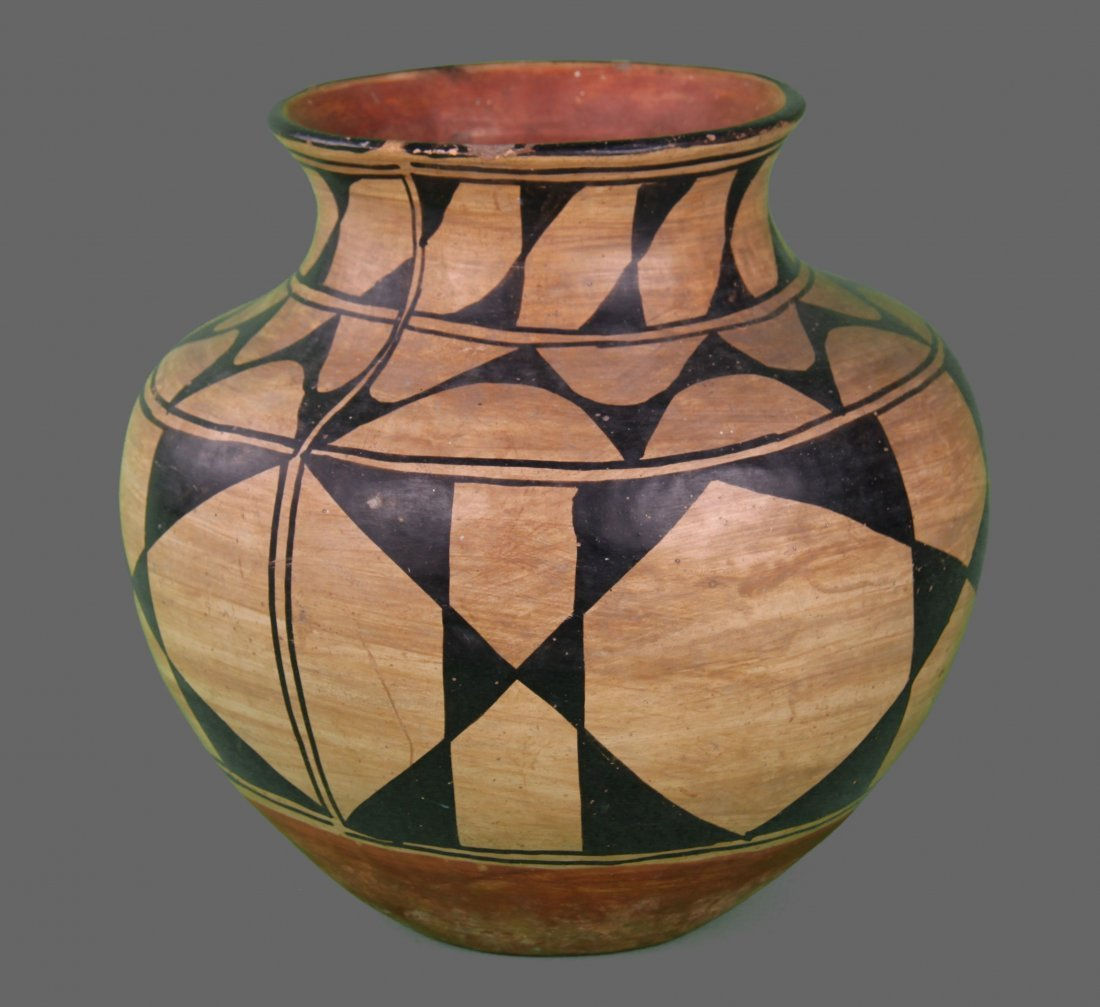 Southwest Polychrome Olla Large Pottery with old tag
