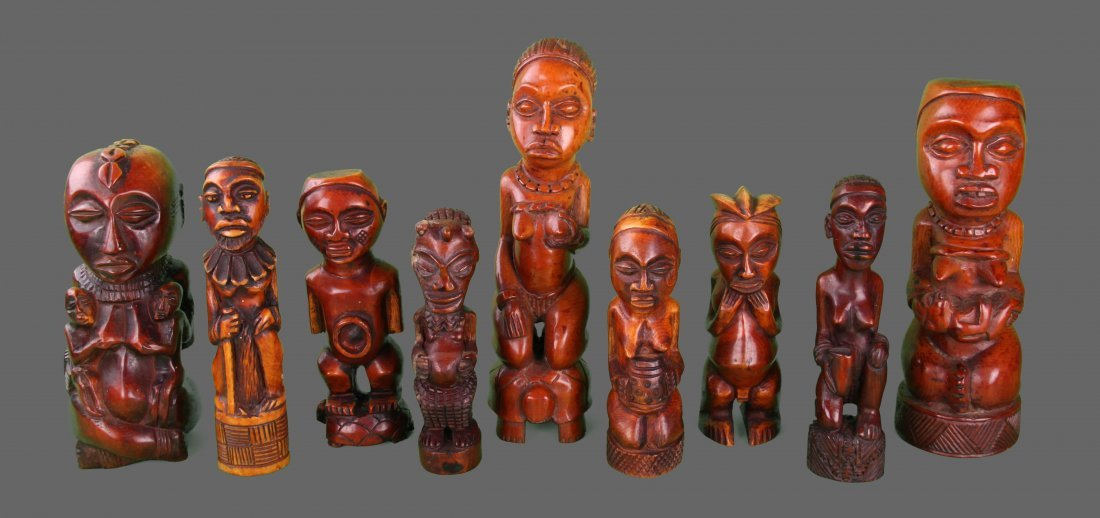 19th Century Ivory Tusk Carvings, group of 9, African