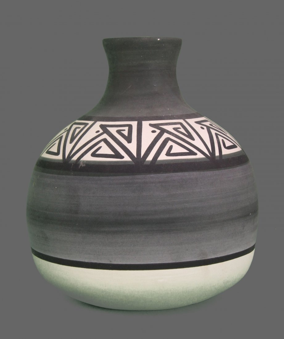 Native American black on white bottle neck pottery,