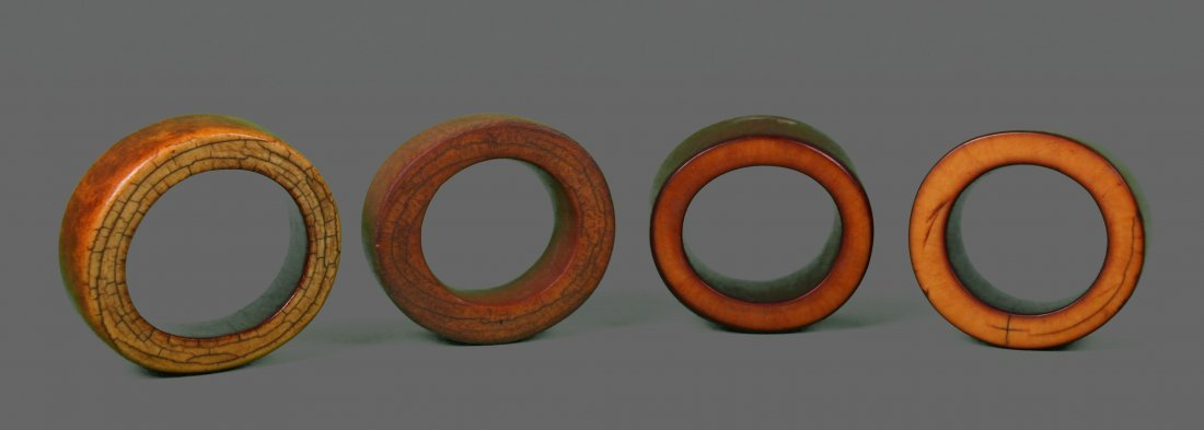 Four (4) Large African Ivory Bangle Bracelet Very
