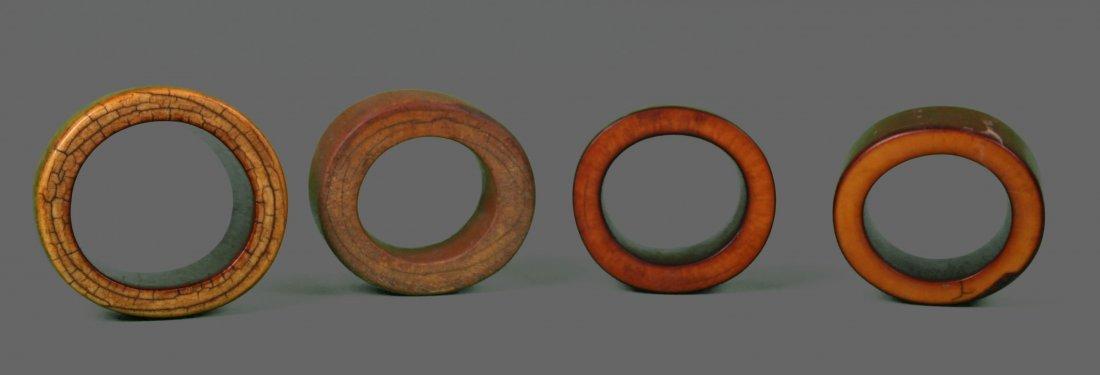 Four (4) Large African Ivory Bangle Bracelet Very - 2