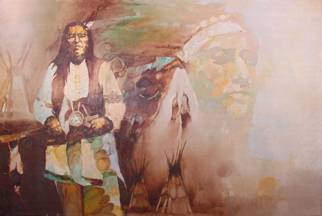 Neil Jones, Native American painting, oil on canvas.