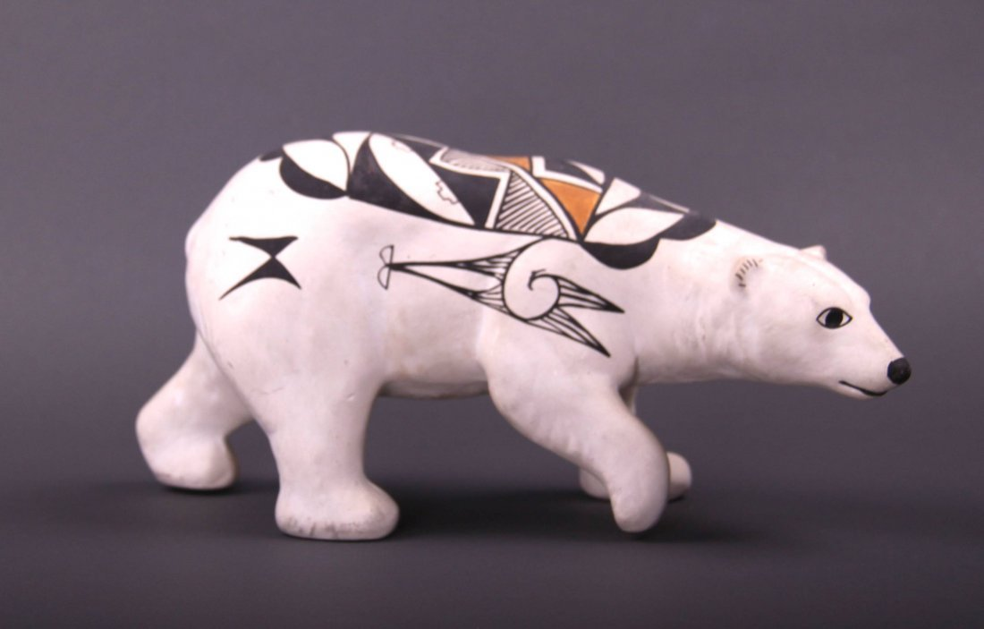 Southwest Polychrome Polar Bear sculpture. (Size: See