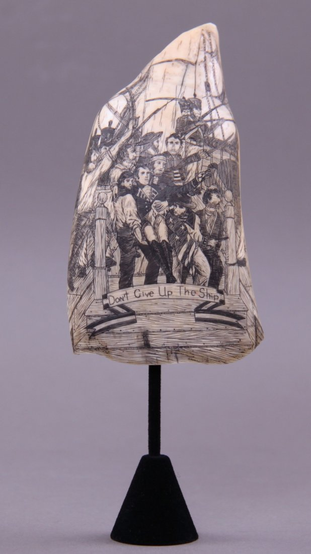 A Late 19th/Early 20th Century extremely rare scrimshaw