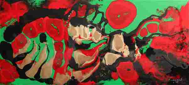 """Josignacio, """"Red Coral Fish"""" 1993, Plastic paint medium"""