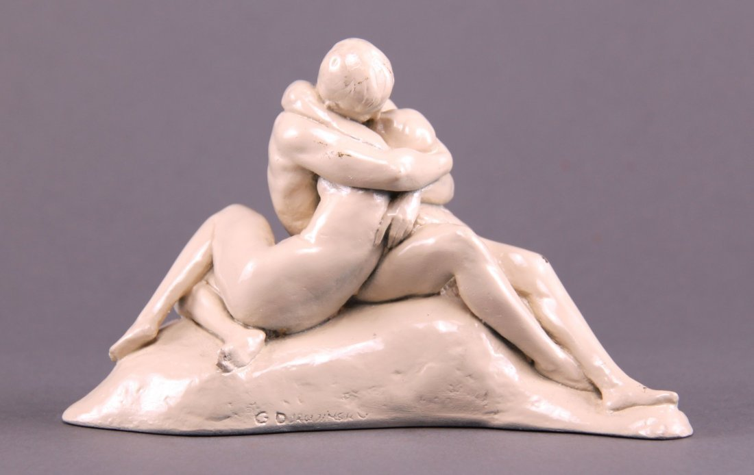 Ceramic sculpture of lovers, signed by artist