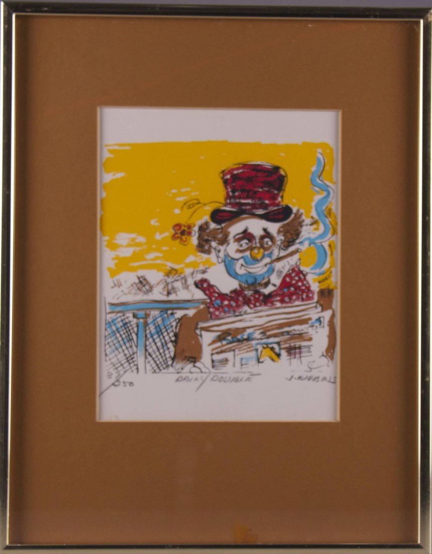 """Black Americana lithograph.  """"Daily Double"""" signed J."""