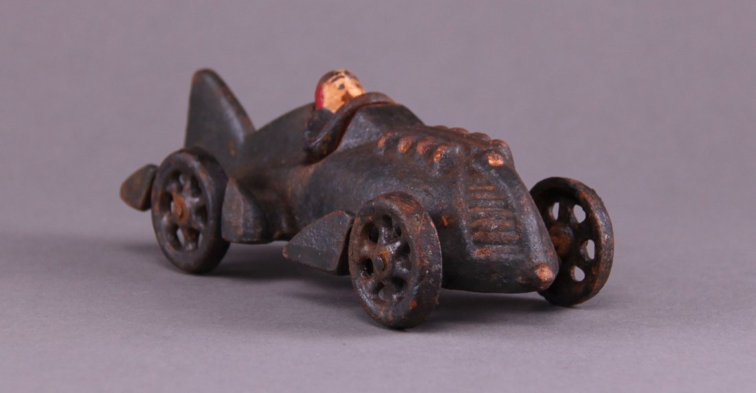 Hubley, cast iron race car. (Size: See last photo for