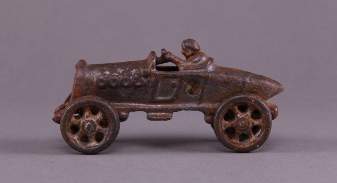 Cast iron race car. (Size: See last photo for