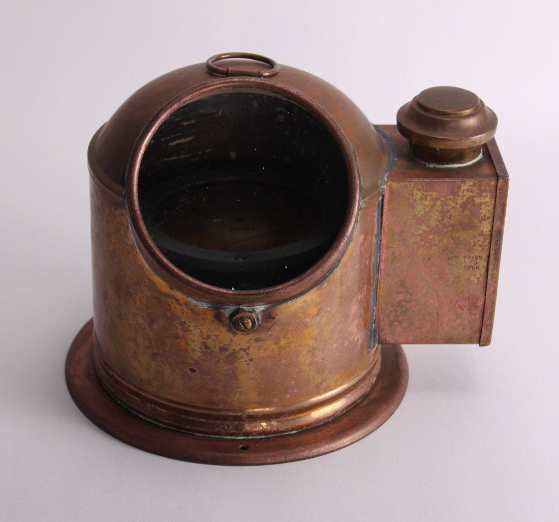 19th Century, brass binnacle with compass and lighting