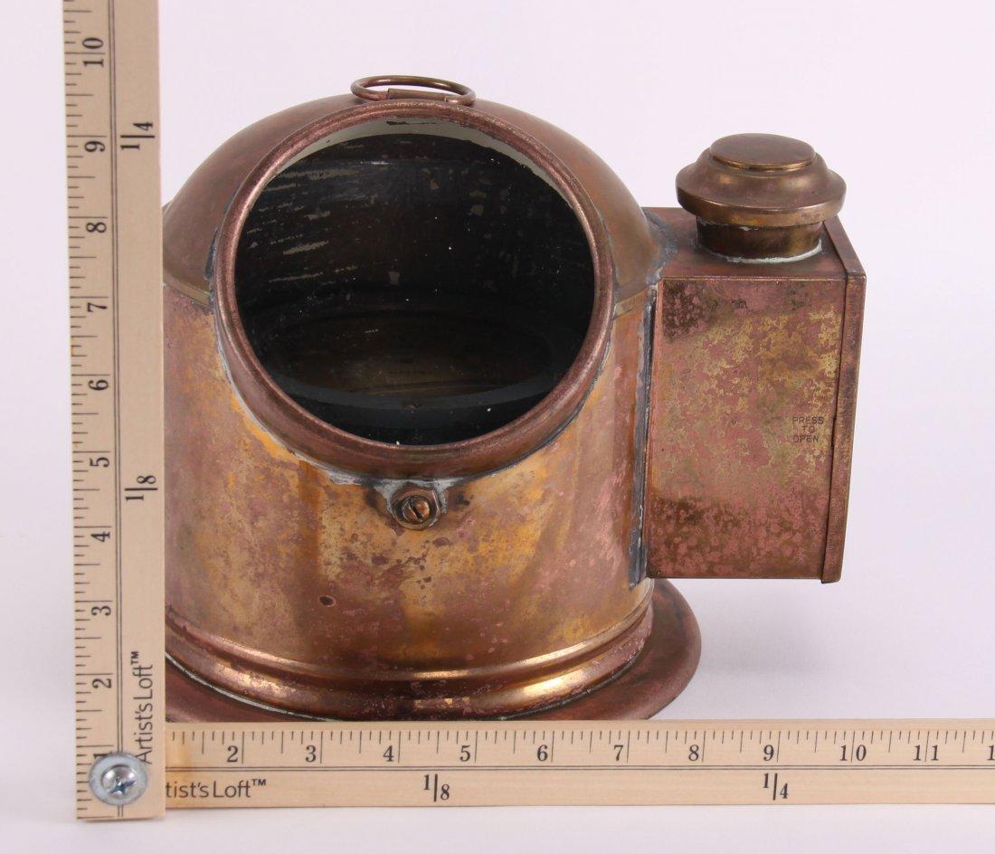 19th Century, brass binnacle with compass and lighting - 2