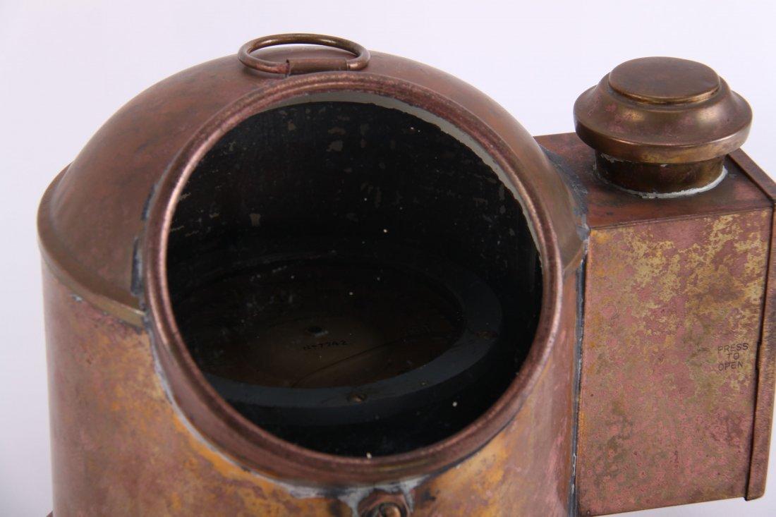 19th Century, brass binnacle with compass and lighting - 3
