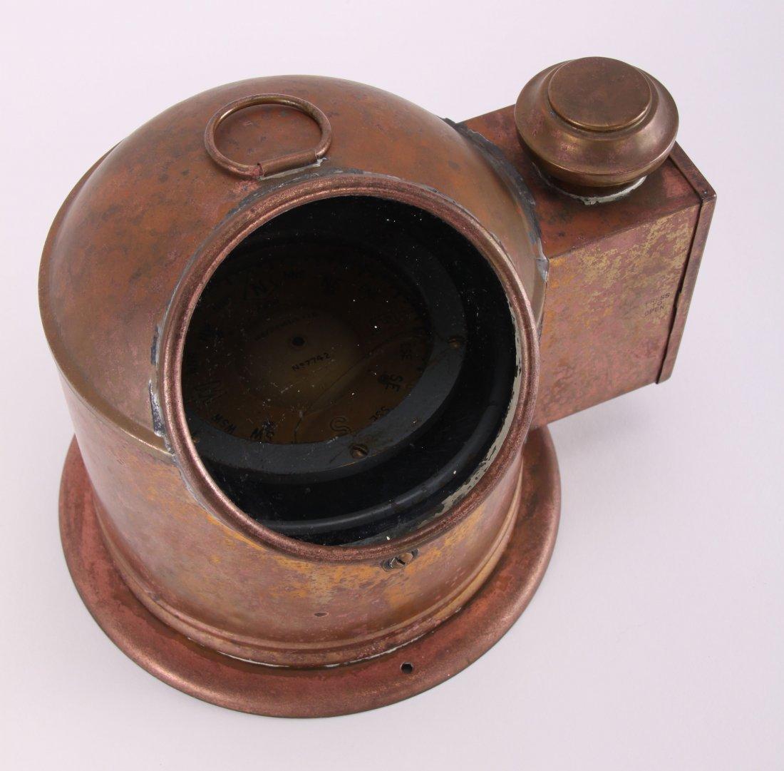 19th Century, brass binnacle with compass and lighting - 4
