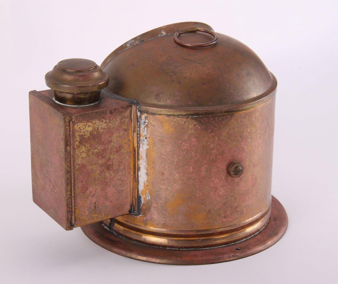 19th Century, brass binnacle with compass and lighting - 6