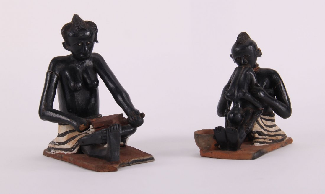 Two (2) African erotic ceramic sculptures (unknown