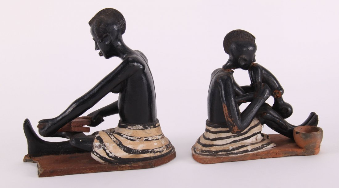 Two (2) African erotic ceramic sculptures (unknown - 7