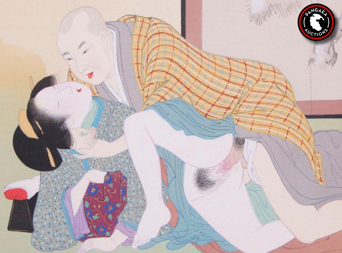 Twelve (12) Antique Japanese Shunga erotic watercolor