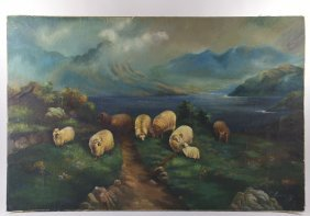 F. Eisenblass 1869, Oil On Canvas Of Sheep Grazing In
