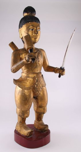 Southeast Asia Gilt Wood Warrior/soldier. Sword Is