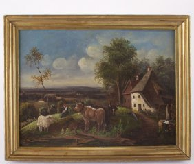 Unsigned Antique Painting, C.1900's Oil On Canvas, Rece