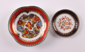 """Two Small Painted Austrian Enamel Plates. """"hand"""