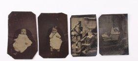 Four(4) Antique Tin Types Of Children. A Tintype, Also