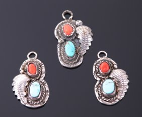 Three (3) Native American Sterling Silver Pendant Set,