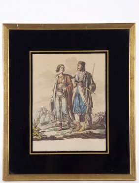 "19th Century Hand Colored Print/etching By "" Wm."