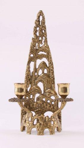 Jewish Shabbat Solid Brass Candle Holder By Artist