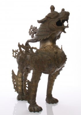 Large Antique Asian Brass Foo Lion. Chinese Guardian L