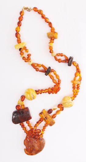 Vintage Mixed Raw Amber Necklace, With Butterscotch, Ba